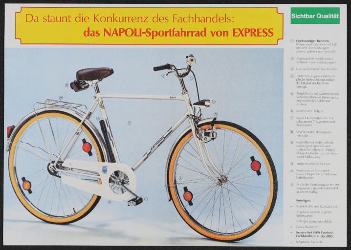 Express Napoli-Sportfahrrad Werbeblatt 1970er Jahre