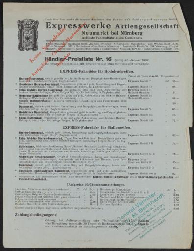 Express Preislisten 1930er Jahre