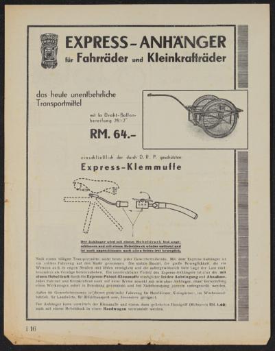 Express-Anhänger für Fahrräder und Kleinkrafträder Werbeblatt 1935