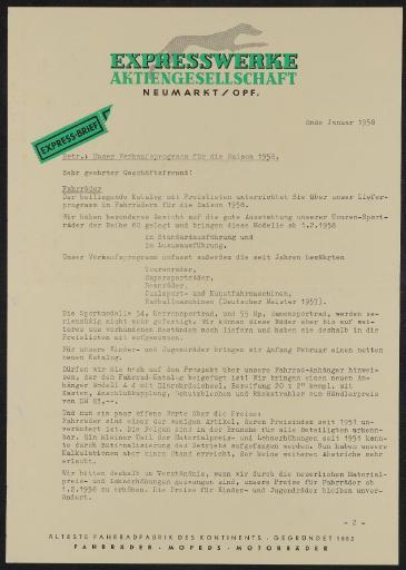 Expresswerke AG Neumarkt Anschreiben Katalog 1958