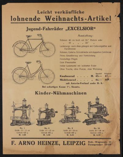 F. Arno Heinze Leipzig Jugendfahrräder Excelsior Werbeblatt 20er Jahre