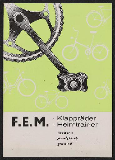 F.E.M. Klapräder Heimtrainer Faltblatt  1960er Jahre