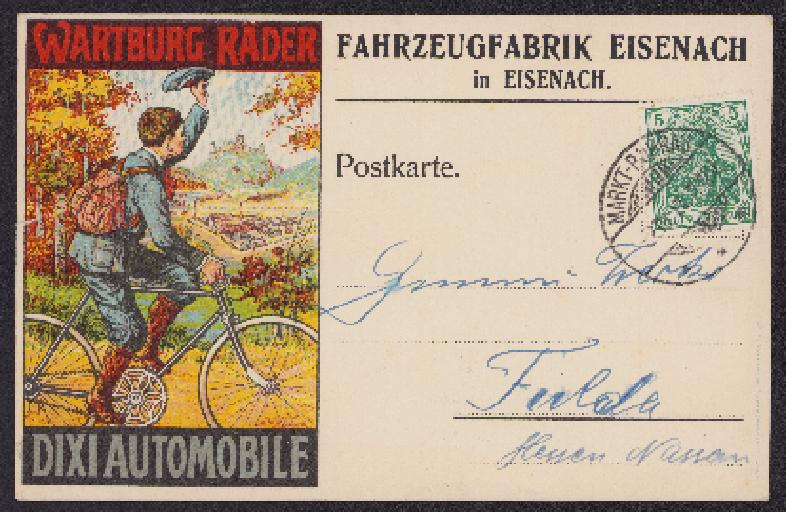 Postkarte Fahrzeugfabrik Eisenach 1911