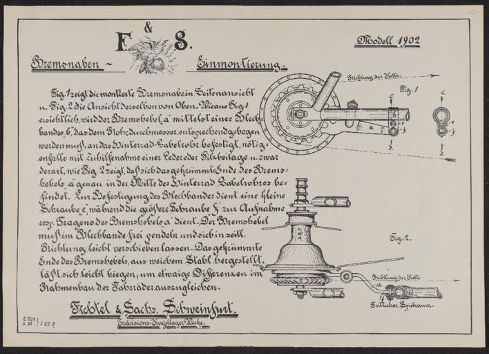 F u. S Bremsnabe Einmontierung Anleitung 1902