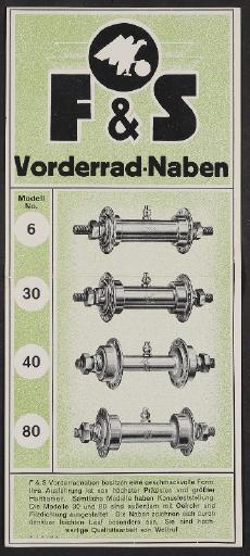 F u. S, Vorderradnaben, Werbeblatt 1928