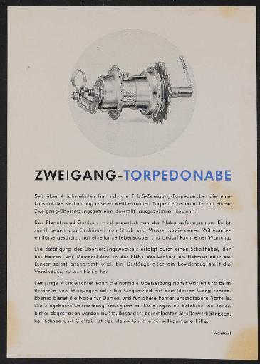 Fichtel u. Sachs 2 Gang Torpedonabe Werbeblatt 1953