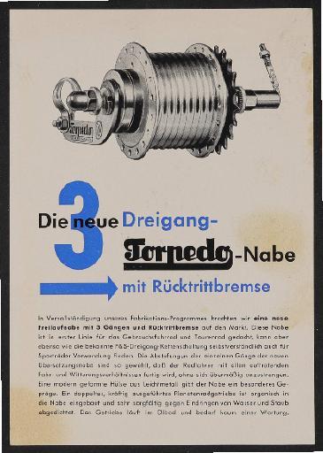 Fichtel u. Sachs 3 Gang Torpedonabe Werbeblatt 1953