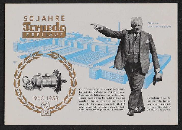 Fichtel u. Sachs 50 Jahre Torpedo Freilauf Werbepostkarte 1953