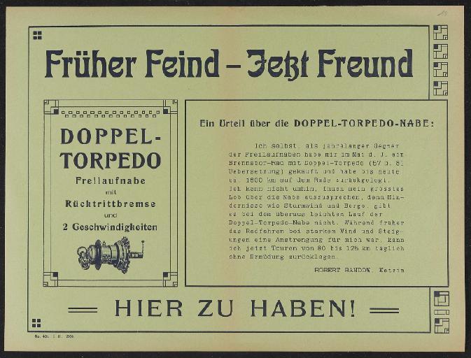 Fichtel u. Sachs Doppel-Torpedo Werbeblatt 1911