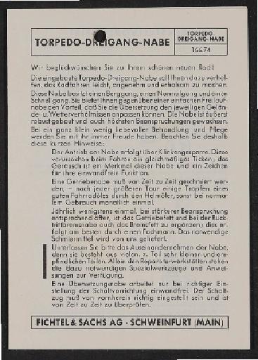 Fichtel u. Sachs Dreigang-Torpedo-Freilauf-Nabe Einstellvorschrift für Schaltzug 1956