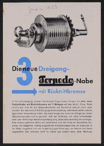 Fichtel u. Sachs Dreigang-Torpedo-Freilauf-Nabe mit Rücktritt Werbeblatt 1953
