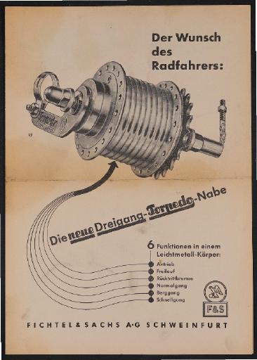 Fichtel u. Sachs Dreigang-Torpedo-Nabe technischer Prospekt 1953