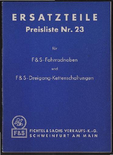 Fichtel u. Sachs Ersatzteile- und Preisliste für Fahrradnaben und Dreigang Kettenschaltungen 1953
