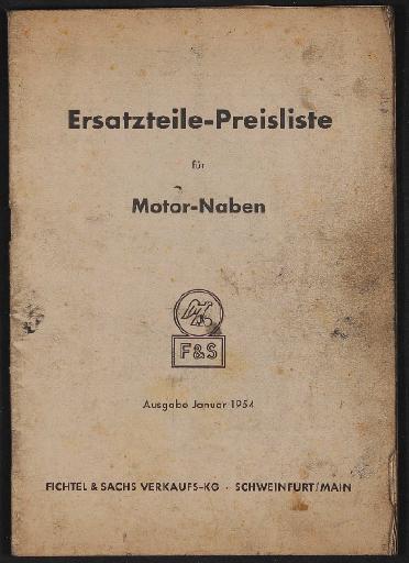 Fichtel u. Sachs Ersatzteile-Preisliste für Motor-Naben 1954