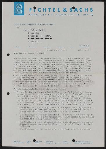 Fichtel u. Sachs Informationsbrief für Händler mit Naben- und Kettenschaltung-Unterlagen 1956