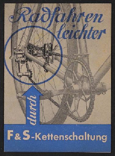 Fichtel u. Sachs Kettenschaltung Faltblatt 1952