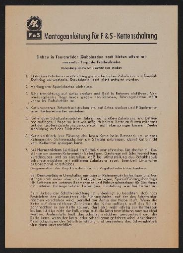 Fichtel u. Sachs Kettenschaltung Montageanleitung 1952