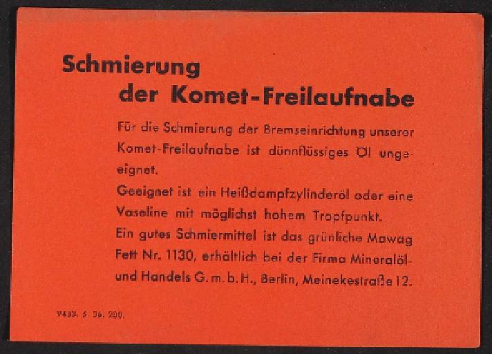 Fichtel u. Sachs Komet Freilauf-Nabe Info-Blatt 1936