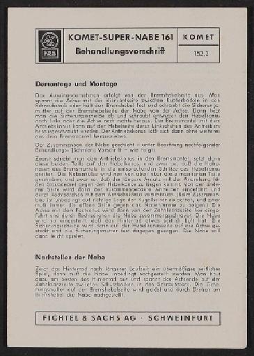 Fichtel u. Sachs Komet Freilauf-Nabe Modell 161 Behandlungsvorschrift 1963