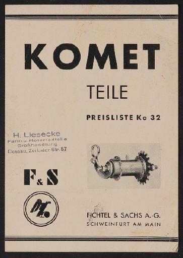Fichtel u. Sachs Komet Freilauf-Nabe Modell 32 und 24 Teile- und Preisliste 1933