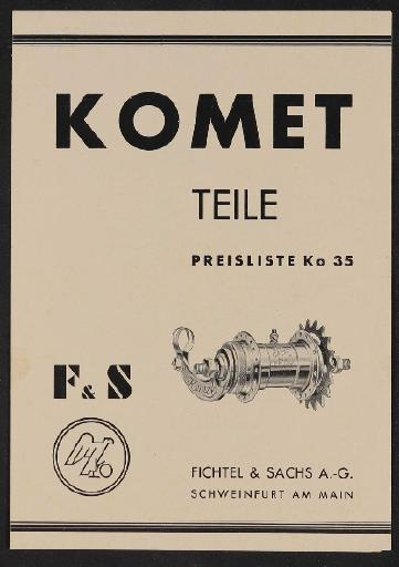 Fichtel u. Sachs Komet Freilauf-Nabe Modell 35, 32 und 24 Teile- und Preisliste 1937