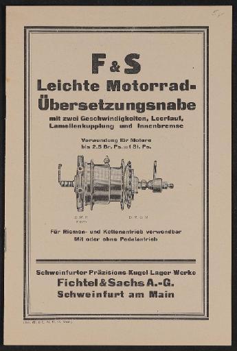Fichtel u. Sachs Leichte Motorad Übersetzungsnabe Infobroschüre 1925