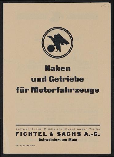 Fichtel u. Sachs Naben und Getriebe für Motorfahrzeuge Faltblatt 1926