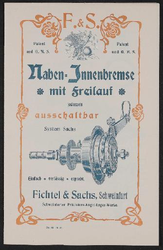 Fichtel u. Sachs Naben-Innenbremse mit Freilauf Demontage- u. Montageanleitung 1901