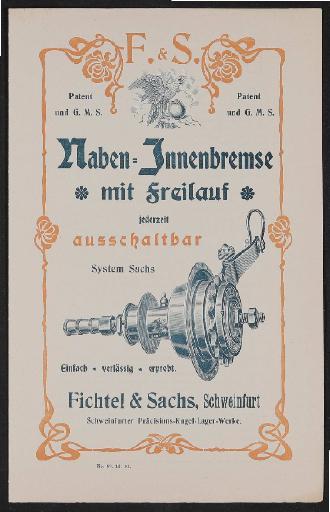 Fichtel u. Sachs Naben-Innenbremse mit Freilauf Werbeblatt 1902