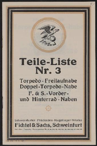 Fichtel u. Sachs Naben-Teileliste Nr. 3 1921