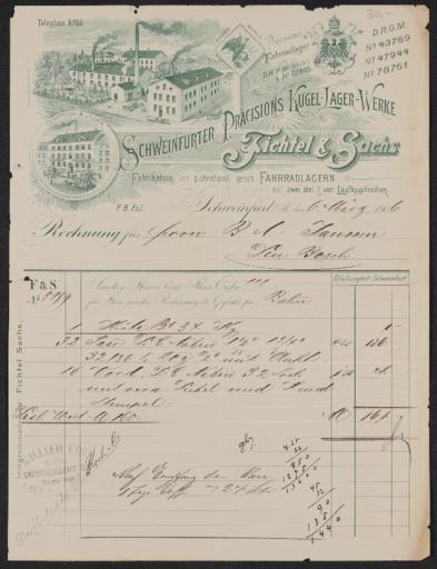 Fichtel u. Sachs Rechnung 1906