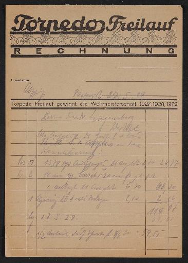 Fichtel u. Sachs Rechnung mit Torpedo Freilauf Rechnungsformular 1929
