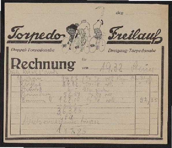 Fichtel u. Sachs Rechnung mit Torpedo Freilauf Rechnungsformular 1932