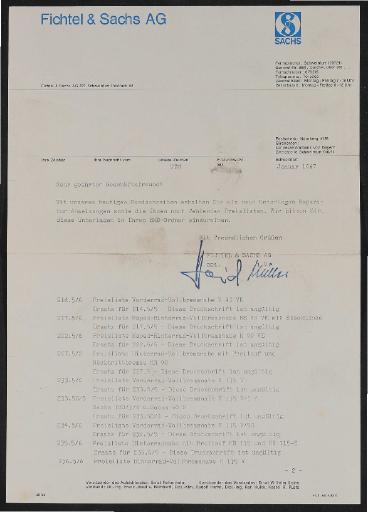 Fichtel u. Sachs Reparatur-Anweisungen und Preislisten für Händler  1967