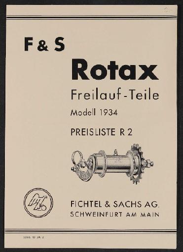 Fichtel u. Sachs Rotax Freilauf-Teile Modell 1934 Preisliste 1934