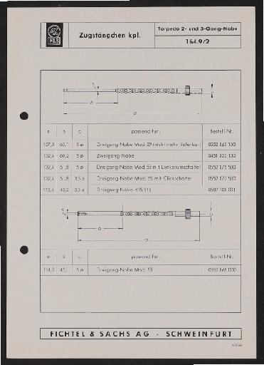 Fichtel u. Sachs Schaltungskette für Torpedo 2- und 3-Gang-Nabe Infoblatt 1962