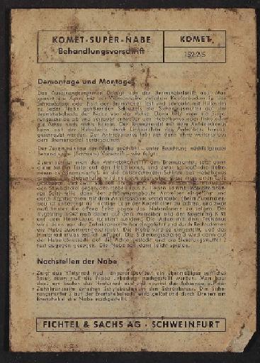 Fichtel u. Sachs Super-Komet Freilauf-Nabe Behandlungsvorschrift 1960