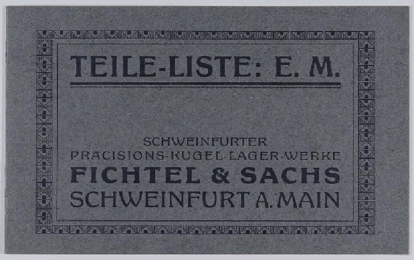 Fichtel u. Sachs Teile-Liste für Endee- u. Morrow-Naben 1912
