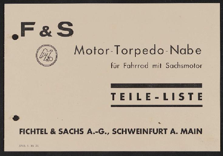 Fichtel u. Sachs Teileliste Motor-Torpedo-Nabe 1935