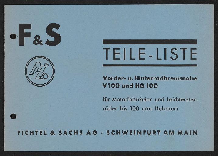Fichtel u. Sachs Teileliste Trommel-Bremsnaben 1936
