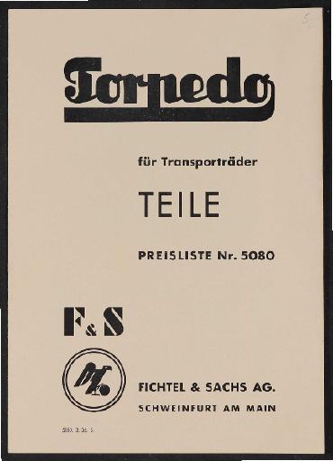 Fichtel u. Sachs Teilepreisliste für Transportradnaben 1936