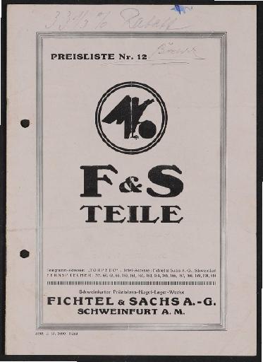 Fichtel u. Sachs Torpedo Freilafnabe und Doppel Torpedo Nabe Teile-Preisliste und Teileverzeichnis 1927