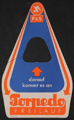 Fichtel u. Sachs Torpedo Freilauf Werbeanhänger für Händler 1955