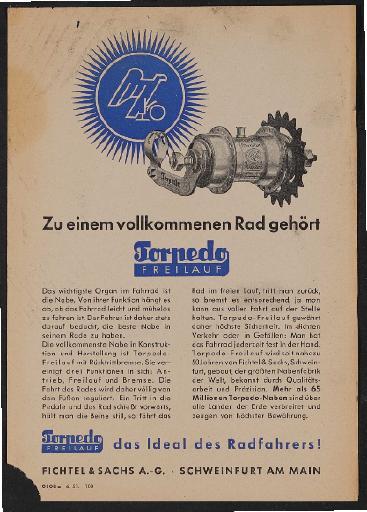 Fichtel u. Sachs Torpedo Freilauf Werbeblatt 1951