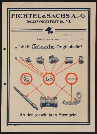 Fichtel u. Sachs Torpedo Freilaufnabe Woran erkennt man Originalteile Info-Blatt 1926