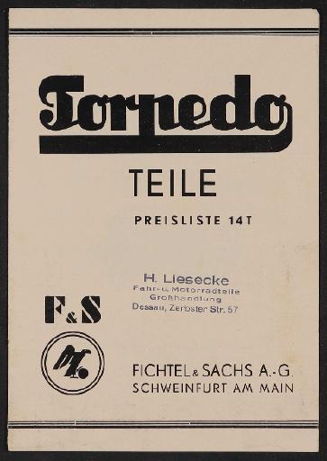 Fichtel u. Sachs Torpedo Teile-Preisliste 1932