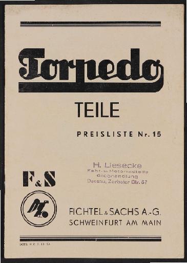 Fichtel u. Sachs Torpedo Teile-Preisliste 1933