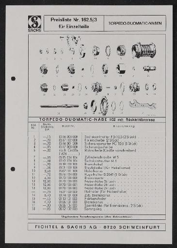 Fichtel u. Sachs Torpedo-Duomatic-Naben Preisliste für Einzelteile 1971