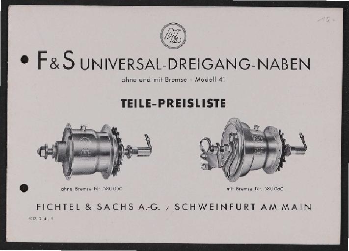 Fichtel u. Sachs Universal-Dreigang-Naben Teile- und Preisliste 1941