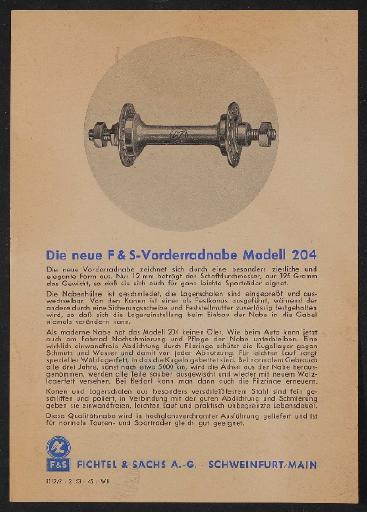 Fichtel u. Sachs Vorderradnabe Modell 204 Werbeblatt 1953